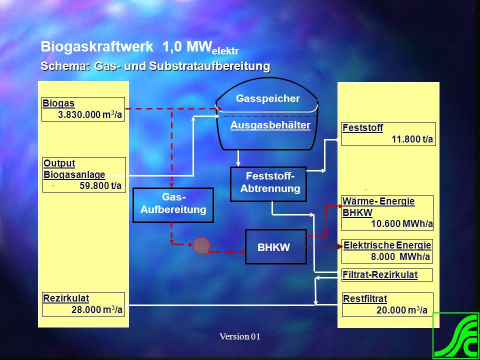 Version 01 Biogaskraftwerk 1,0 MW elektr Schema: Gas- und Substrataufbereitung Gasspeicher Ausgasbehälter Gas- Aufbereitung Feststoff- Abtrennung BHKW