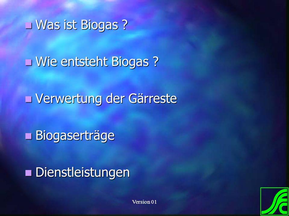 Version 01 Was ist Biogas ? Was ist Biogas ? Wie entsteht Biogas ? Wie entsteht Biogas ? Verwertung der Gärreste Verwertung der Gärreste Biogaserträge