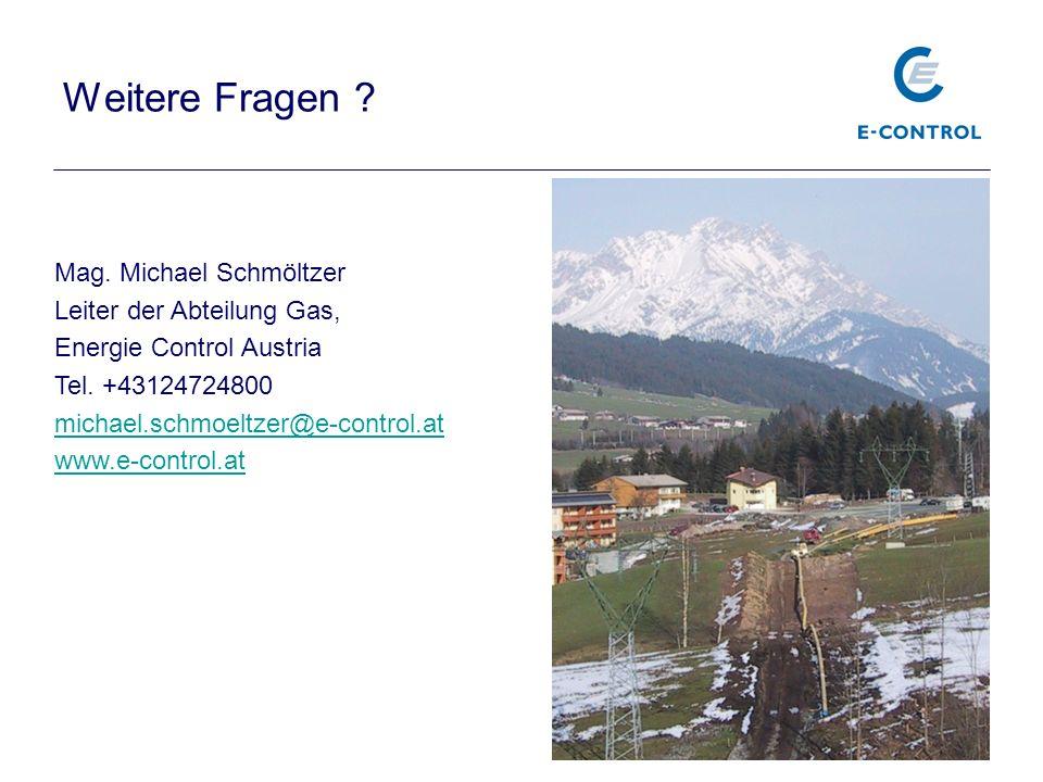 Weitere Fragen ? Mag. Michael Schmöltzer Leiter der Abteilung Gas, Energie Control Austria Tel. +43124724800 michael.schmoeltzer@e-control.at www.e-co