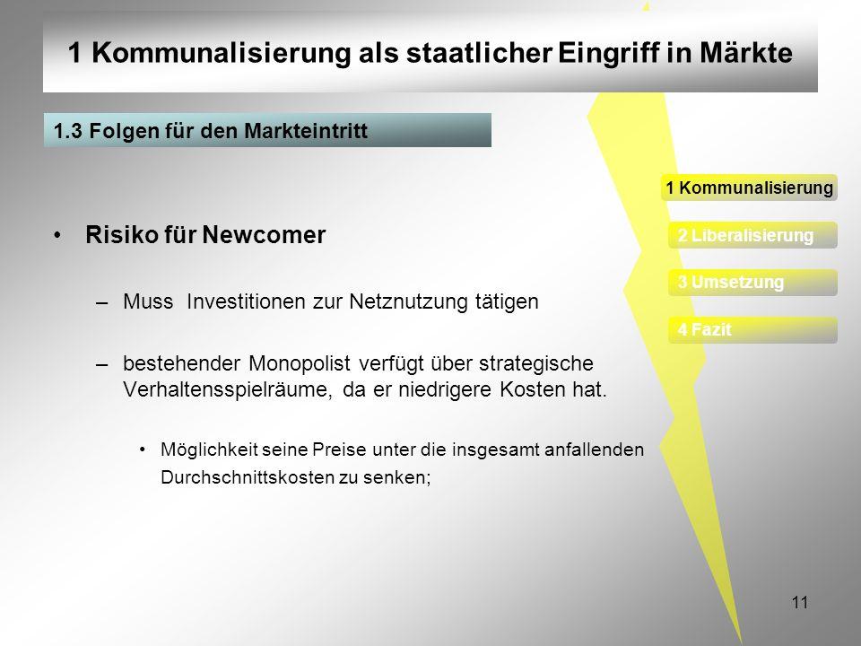11 1 Kommunalisierung als staatlicher Eingriff in Märkte 1 Kommunalisierung 2 Liberalisierung 3 Umsetzung 4 Fazit 1.3 Folgen für den Markteintritt Ris
