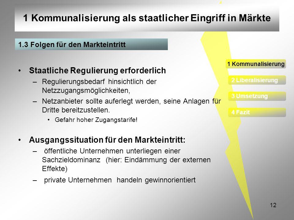 12 1 Kommunalisierung als staatlicher Eingriff in Märkte 1 Kommunalisierung 2 Liberalisierung 3 Umsetzung 4 Fazit Staatliche Regulierung erforderlich