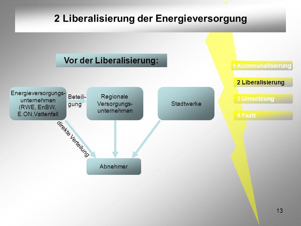 13 2 Liberalisierung der Energieversorgung Energieversorgungs- unternehmen (RWE, EnBW, E.ON,Vattenfall Regionale Versorgungs- unternehmen Abnehmer Sta