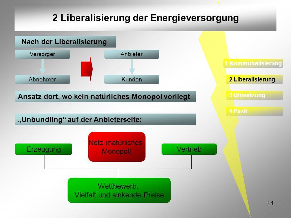 14 2 Liberalisierung der Energieversorgung Nach der Liberalisierung: Versorger Abnehmer Anbieter Kunden Erzeugung Vertrieb Wettbewerb: Vielfalt und si