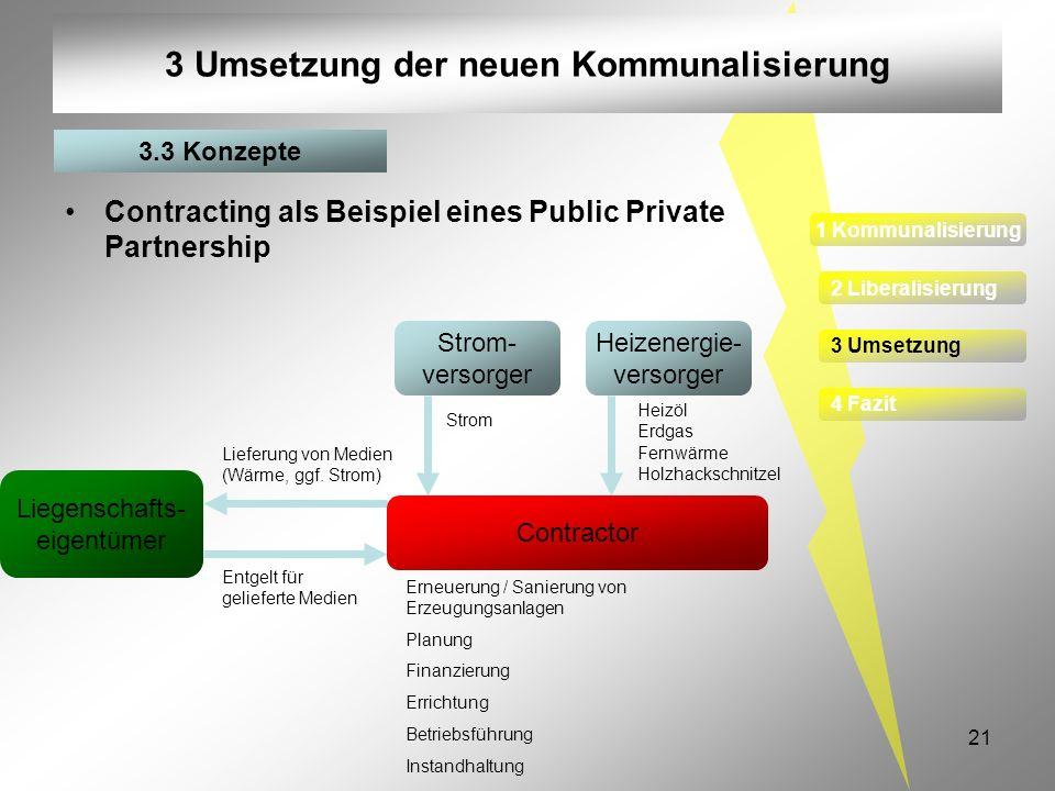 21 3 Umsetzung der neuen Kommunalisierung Contracting als Beispiel eines Public Private Partnership Heizenergie- versorger Strom- versorger Erneuerung