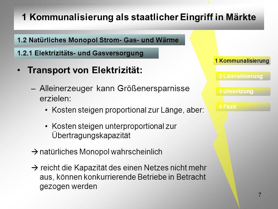 7 1 Kommunalisierung als staatlicher Eingriff in Märkte 1 Kommunalisierung 2 Liberalisierung 3 Umsetzung 4 Fazit 1.2.1 Elektrizitäts- und Gasversorgun