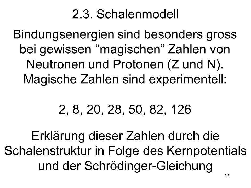 15 2.3. Schalenmodell Bindungsenergien sind besonders gross bei gewissen magischen Zahlen von Neutronen und Protonen (Z und N). Magische Zahlen sind e