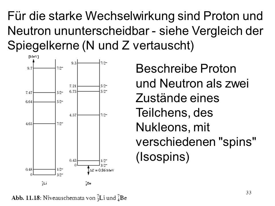 33 Für die starke Wechselwirkung sind Proton und Neutron ununterscheidbar - siehe Vergleich der Spiegelkerne (N und Z vertauscht) Beschreibe Proton un