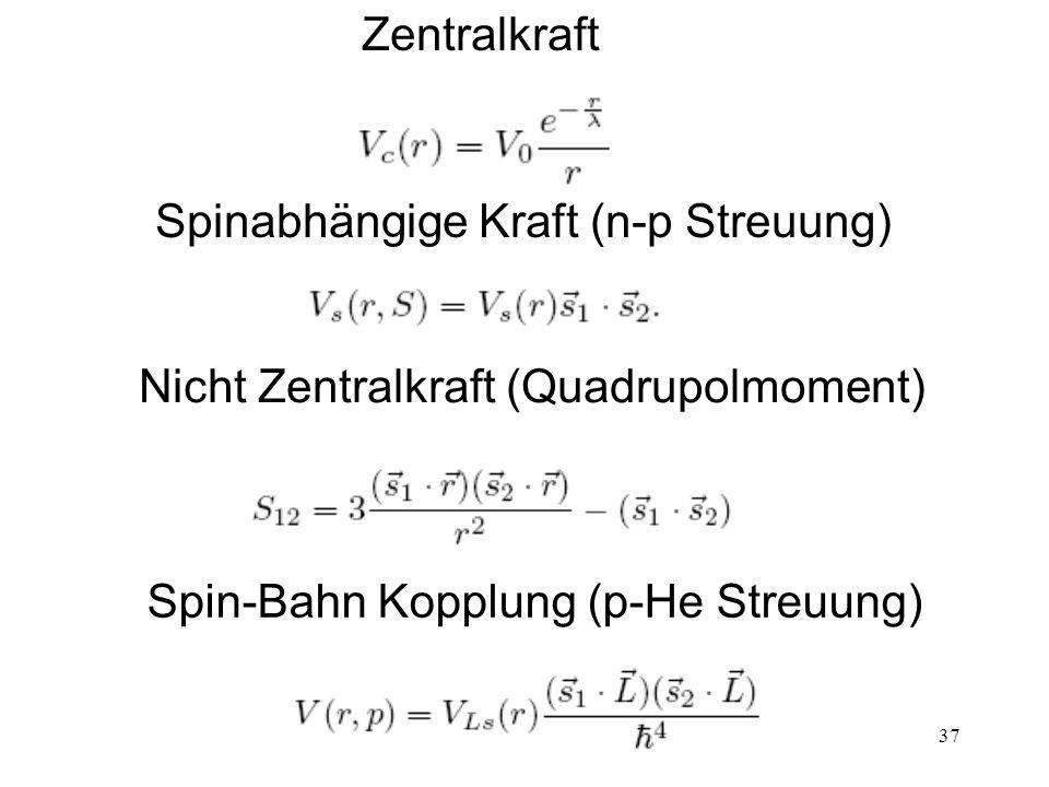 37 Zentralkraft Spinabhängige Kraft (n-p Streuung) Nicht Zentralkraft (Quadrupolmoment) Spin-Bahn Kopplung (p-He Streuung)