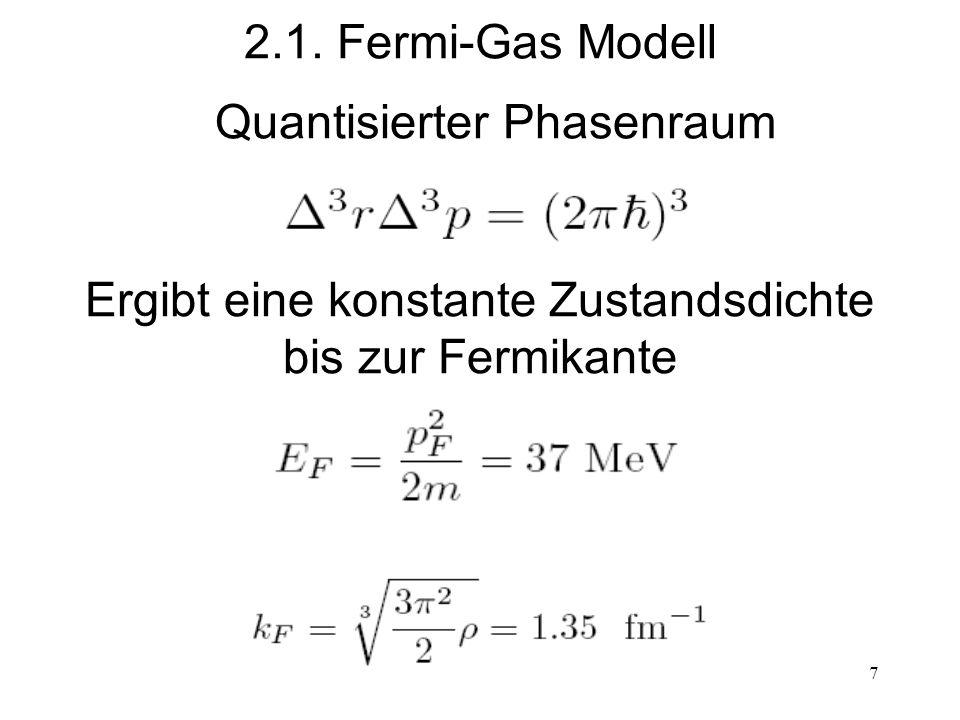 7 2.1. Fermi-Gas Modell Quantisierter Phasenraum Ergibt eine konstante Zustandsdichte bis zur Fermikante