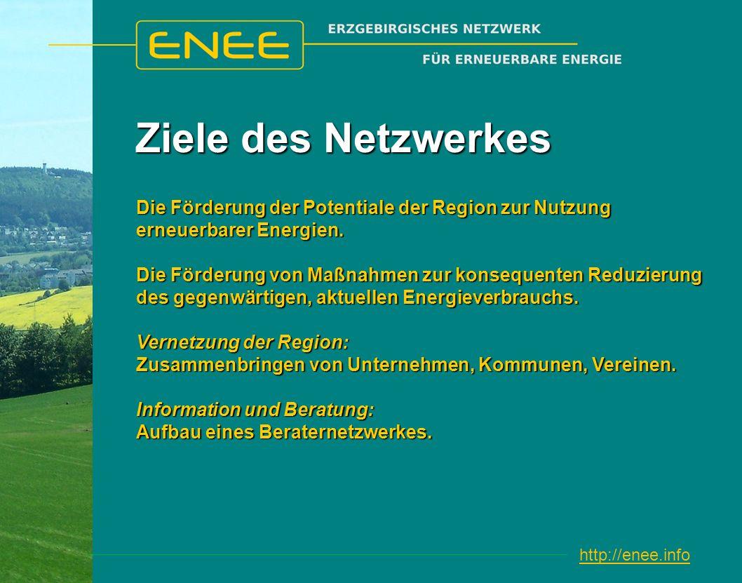 http://enee.info Ziele des Netzwerkes Die Förderung der Potentiale der Region zur Nutzung erneuerbarer Energien.