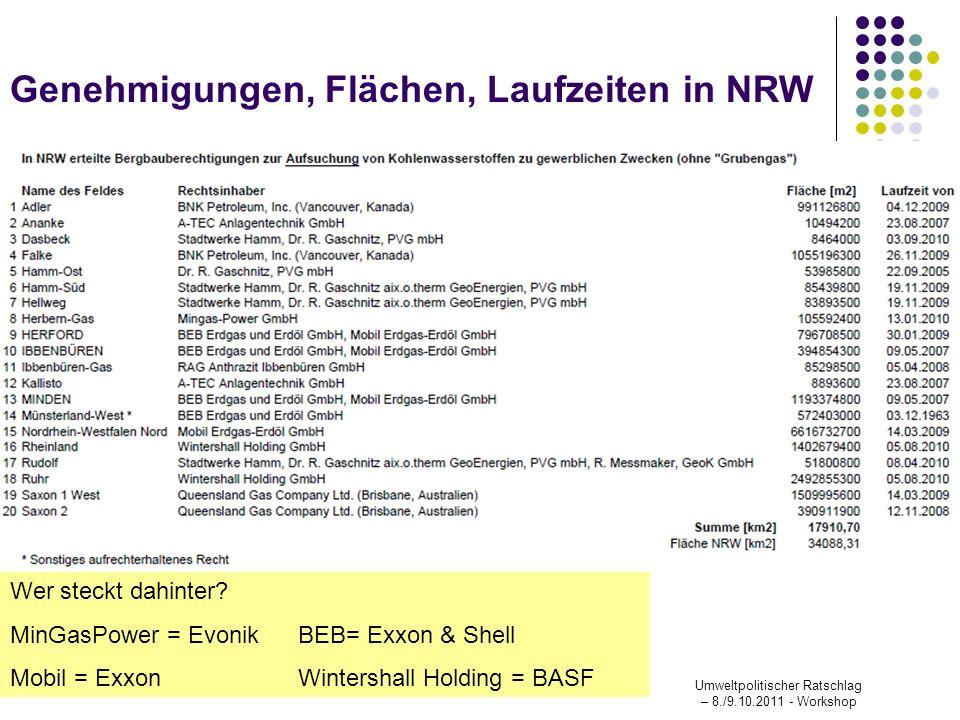 Wer steckt dahinter? MinGasPower = EvonikBEB= Exxon & Shell Mobil = ExxonWintershall Holding = BASF Umweltpolitischer Ratschlag – 8./9.10.2011 - Works