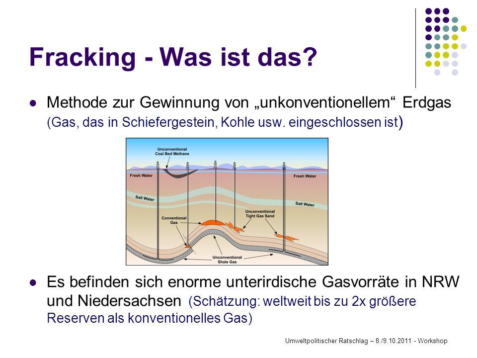Fracking - Was ist das? Methode zur Gewinnung von unkonventionellem Erdgas (Gas, das in Schiefergestein, Kohle usw. eingeschlossen ist ) Es befinden s