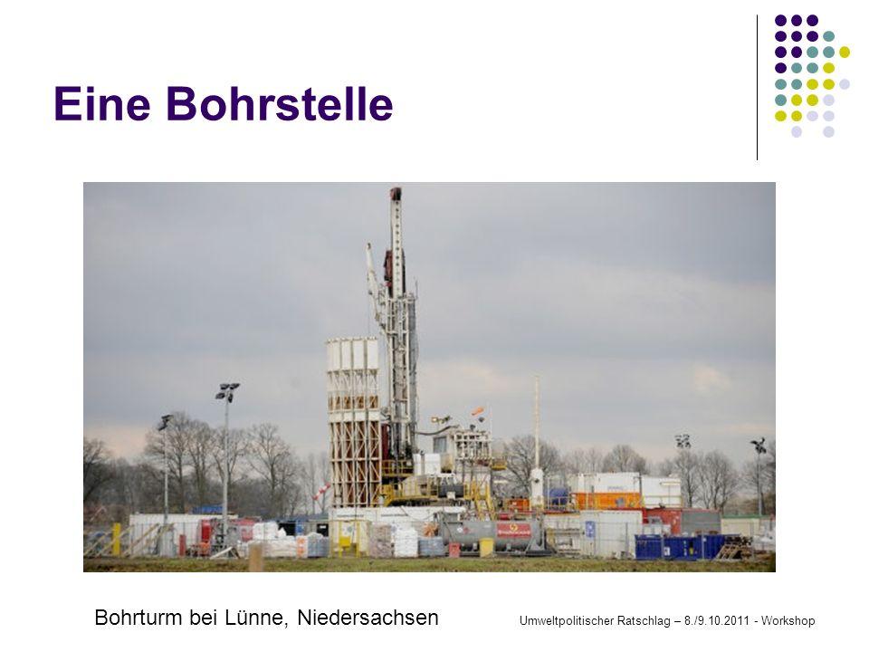 Eine Bohrstelle Bohrturm bei Lünne, Niedersachsen Umweltpolitischer Ratschlag – 8./9.10.2011 - Workshop