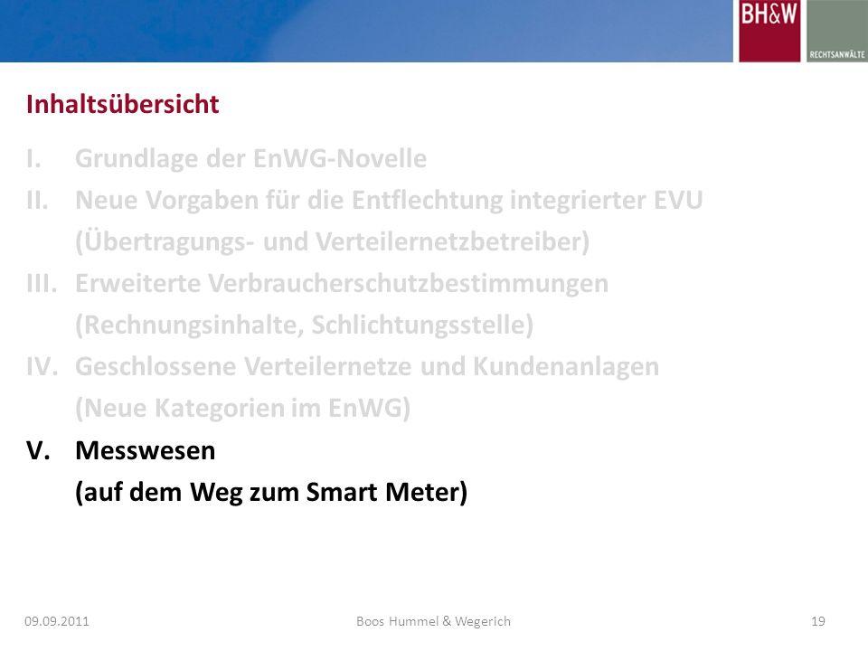 I.Grundlage der EnWG-Novelle II.Neue Vorgaben für die Entflechtung integrierter EVU (Übertragungs- und Verteilernetzbetreiber) III.Erweiterte Verbrauc