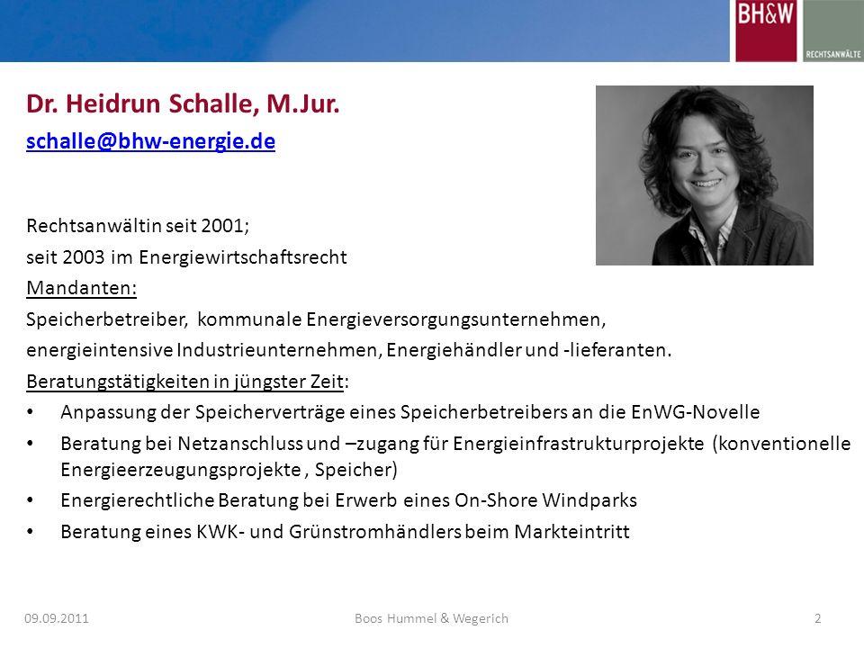 Rechtsanwältin seit 2001; seit 2003 im Energiewirtschaftsrecht Mandanten: Speicherbetreiber, kommunale Energieversorgungsunternehmen, energieintensive