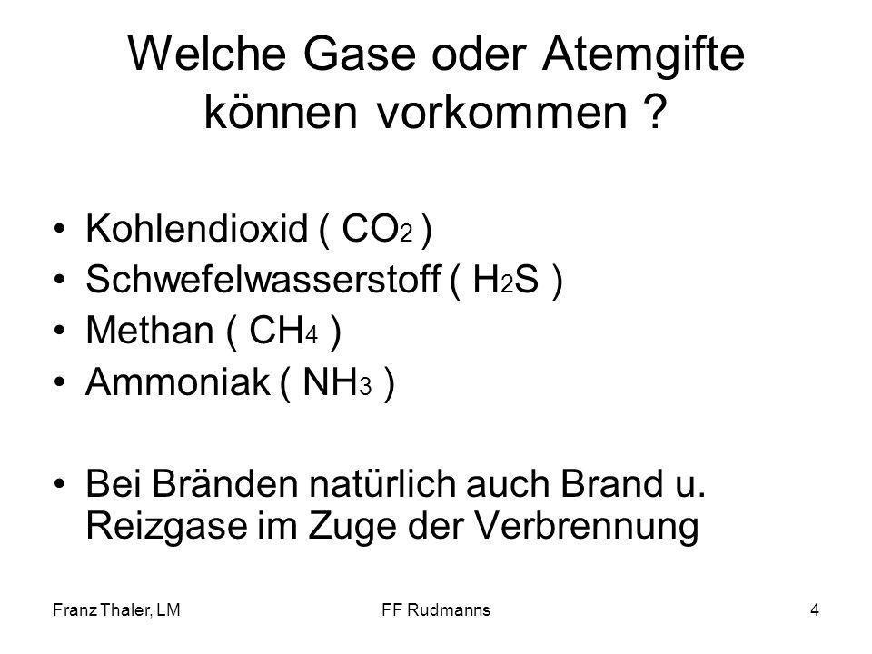 Franz Thaler, LMFF Rudmanns5 Kohlendioxid ( CO 2 ) Konzentration in der Luft 0,04 % auch als Kohlensäure bezeichnet, ist ein nicht brennbares Gas wirkt erstickend, geruchlos schwerer als Luft im gasförmigen Zustand farbloses unter Druck verflüssigtes Gas nicht brennbar nicht giftig, jedoch Wirkung u.a.