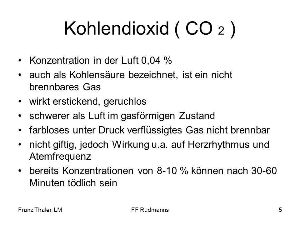 Franz Thaler, LMFF Rudmanns6 Kohlendioxid ( CO 2 ) wirkt erstickend
