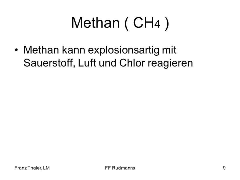 Franz Thaler, LMFF Rudmanns9 Methan ( CH 4 ) Methan kann explosionsartig mit Sauerstoff, Luft und Chlor reagieren