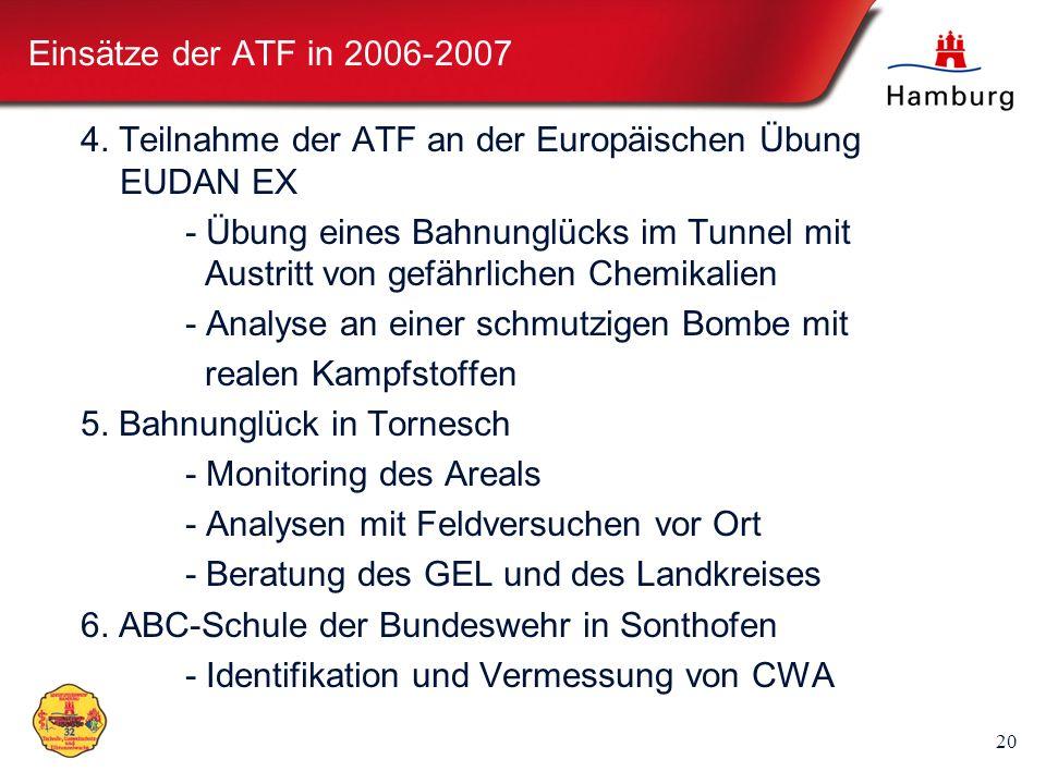 20 Einsätze der ATF in 2006-2007 4. Teilnahme der ATF an der Europäischen Übung EUDAN EX - Übung eines Bahnunglücks im Tunnel mit Austritt von gefährl