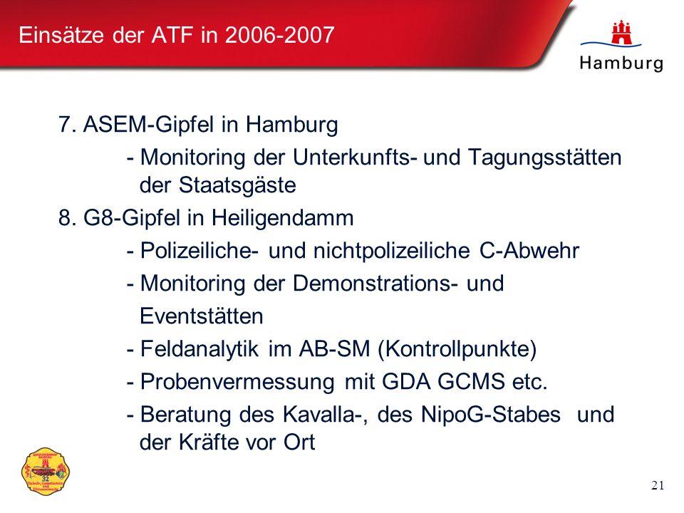 21 Einsätze der ATF in 2006-2007 7. ASEM-Gipfel in Hamburg - Monitoring der Unterkunfts- und Tagungsstätten der Staatsgäste 8. G8-Gipfel in Heiligenda