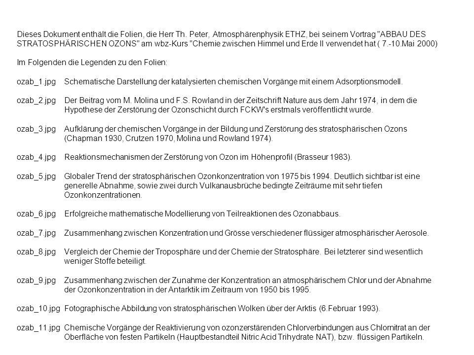 Dieses Dokument enthält die Folien, die Herr Th. Peter, Atmosphärenphysik ETHZ, bei seinem Vortrag