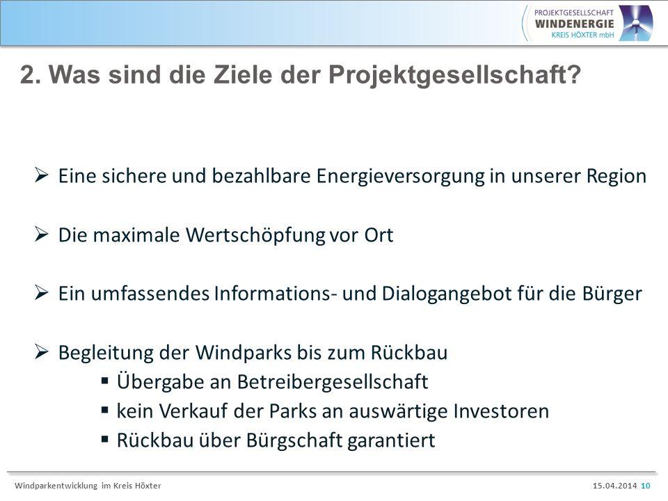 15.04.2014 10Windparkentwicklung im Kreis Höxter 2. Was sind die Ziele der Projektgesellschaft? Eine sichere und bezahlbare Energieversorgung in unser