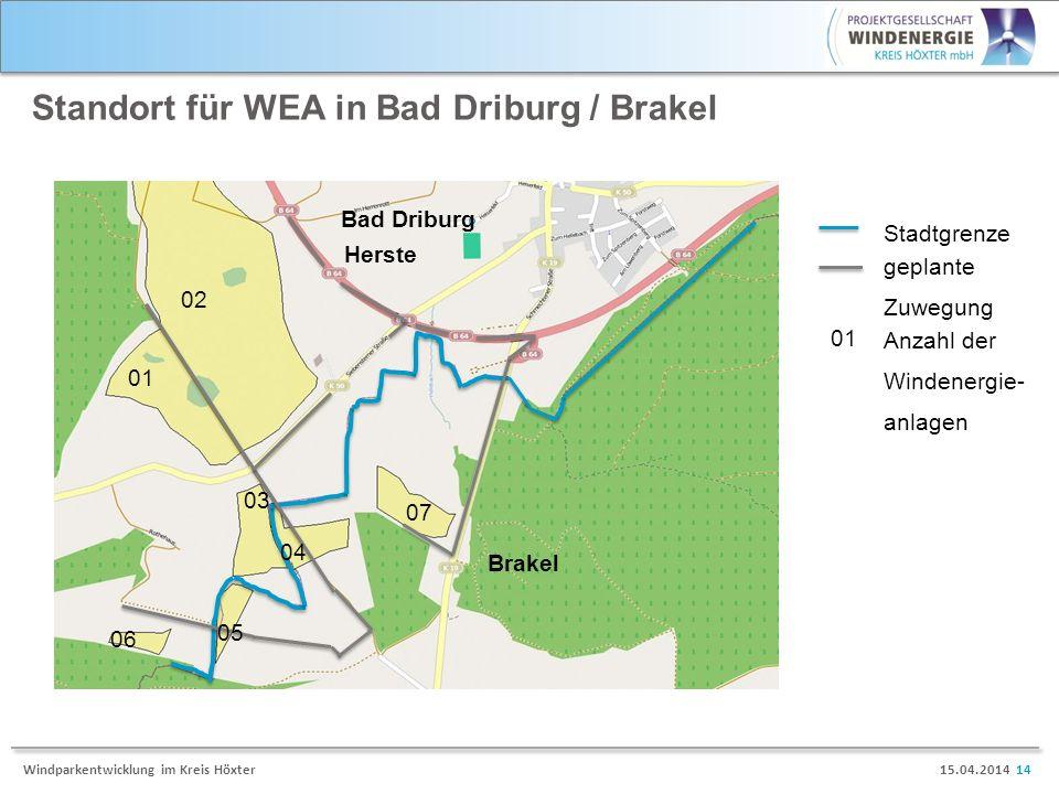 15.04.2014 14Windparkentwicklung im Kreis Höxter Standort für WEA in Bad Driburg / Brakel Herste Brakel Bad Driburg geplante Zuwegung Stadtgrenze 02 0