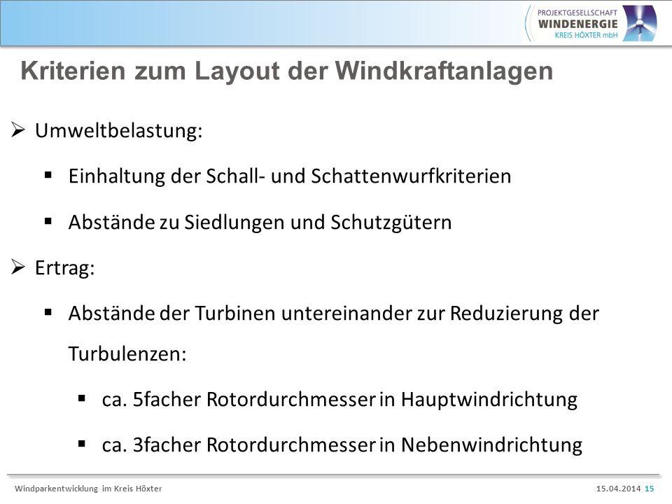 15.04.2014 15Windparkentwicklung im Kreis Höxter Kriterien zum Layout der Windkraftanlagen Umweltbelastung: Einhaltung der Schall- und Schattenwurfkri