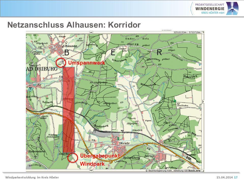 15.04.2014 17Windparkentwicklung im Kreis Höxter Netzanschluss Alhausen: Korridor Umspannwerk Übergabepunkt Windpark