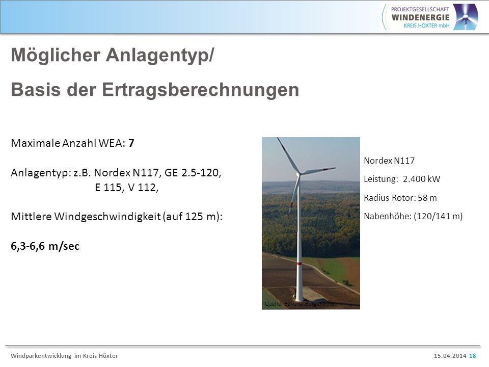 15.04.2014 18Windparkentwicklung im Kreis Höxter Möglicher Anlagentyp/ Basis der Ertragsberechnungen Nordex N117 Leistung: 2.400 kW Radius Rotor: 58 m Nabenhöhe: (120/141 m) Quelle: Bavaria-Bürgerwind Maximale Anzahl WEA: 7 Anlagentyp: z.B.