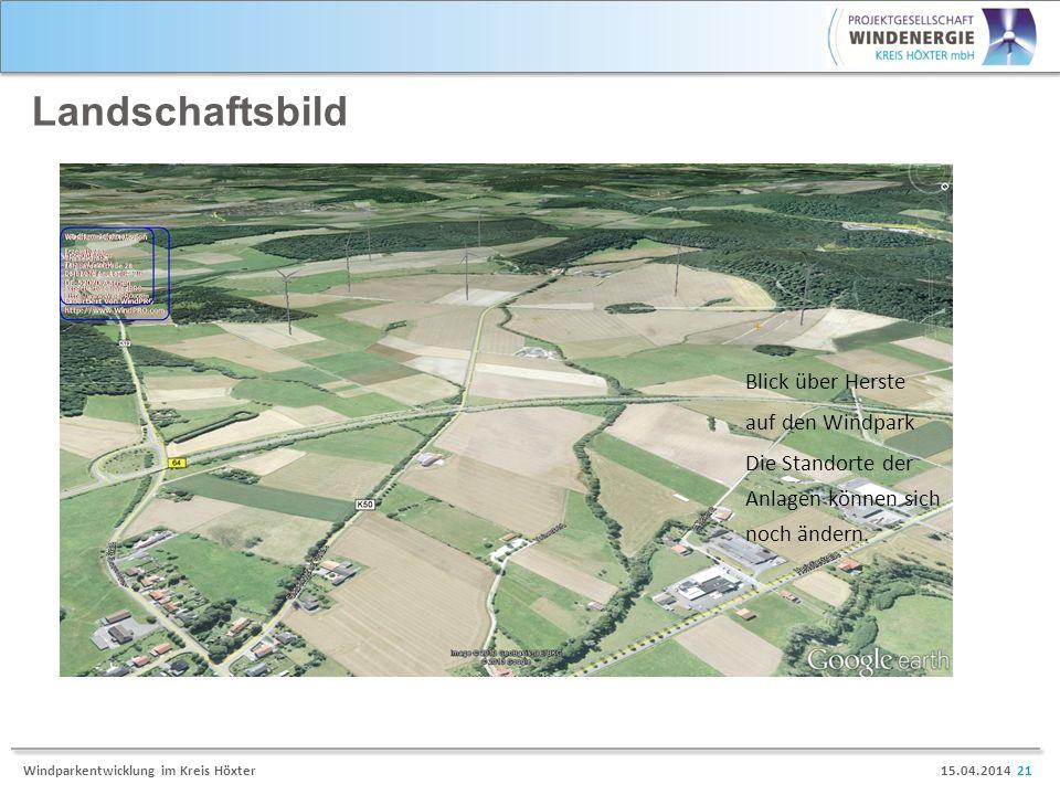 15.04.2014 21Windparkentwicklung im Kreis Höxter Landschaftsbild Blick über Herste auf den Windpark Die Standorte der Anlagen können sich noch ändern.