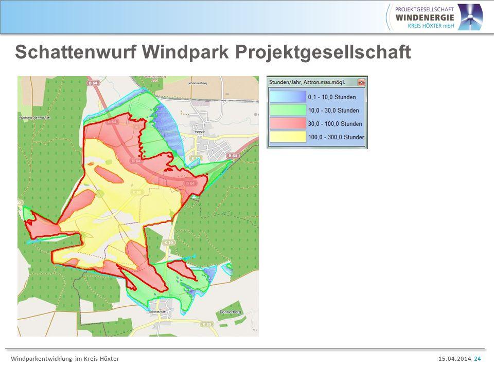 15.04.2014 24Windparkentwicklung im Kreis Höxter Schattenwurf Windpark Projektgesellschaft