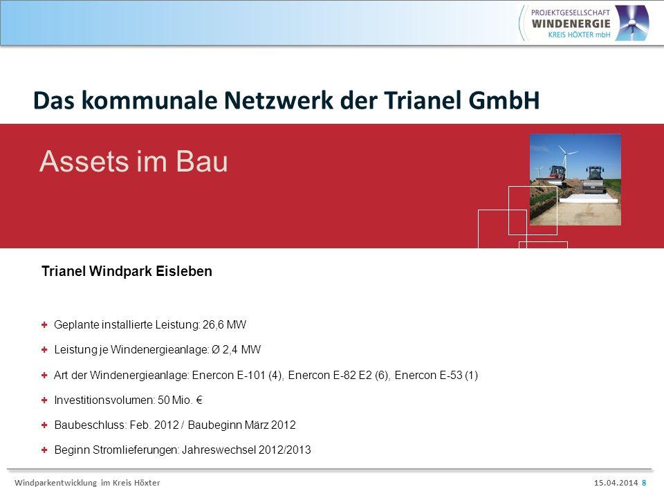 15.04.2014 8Windparkentwicklung im Kreis Höxter Trianel Windpark Eisleben Assets im Bau + Geplante installierte Leistung: 26,6 MW + Leistung je Windenergieanlage: Ø 2,4 MW + Art der Windenergieanlage: Enercon E-101 (4), Enercon E-82 E2 (6), Enercon E-53 (1) + Investitionsvolumen: 50 Mio.