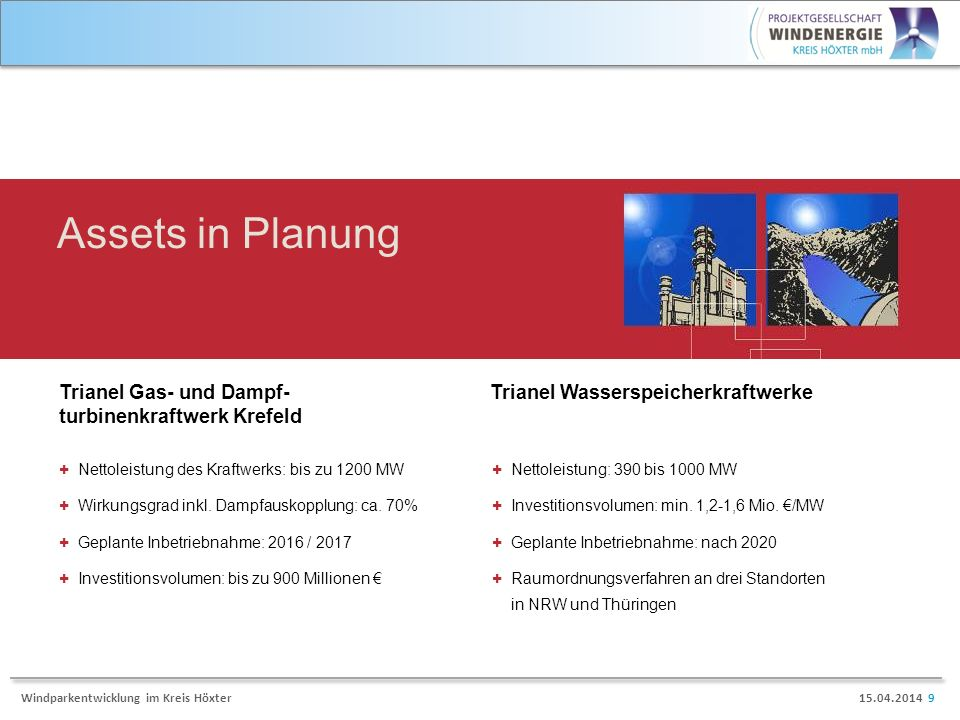 15.04.2014 9Windparkentwicklung im Kreis Höxter Assets in Planung Trianel Gas- und Dampf- turbinenkraftwerk Krefeld Trianel Wasserspeicherkraftwerke + Nettoleistung des Kraftwerks: bis zu 1200 MW + Wirkungsgrad inkl.