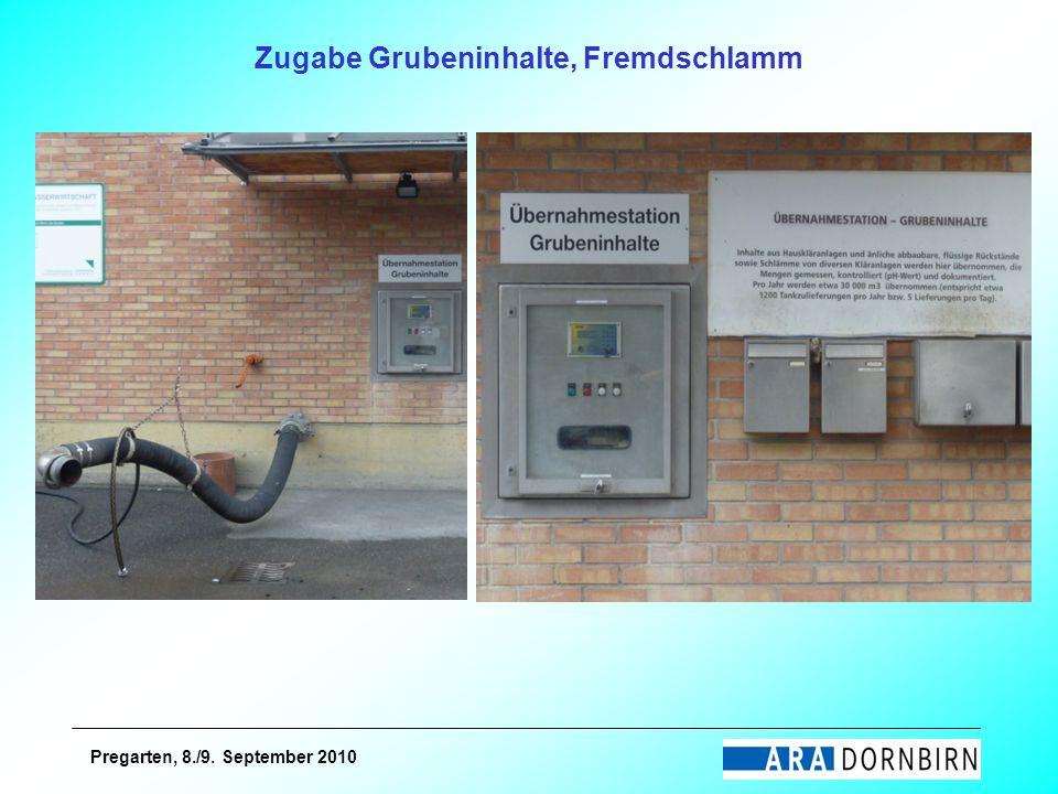 Pregarten, 8./9. September 2010 Zugabe Grubeninhalte, Fremdschlamm