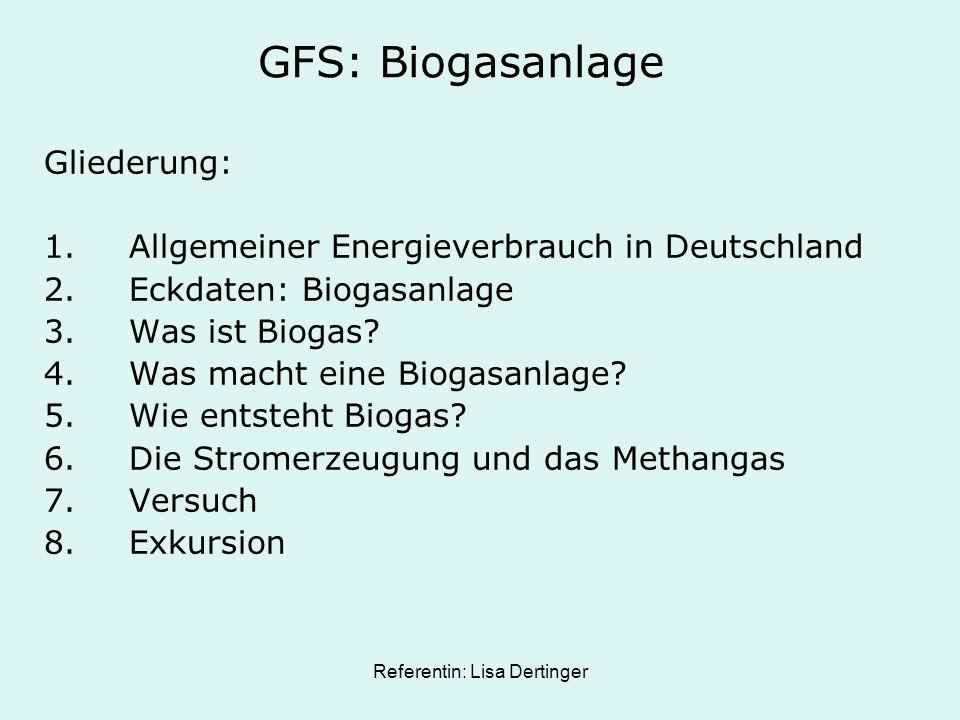GFS: Biogasanlage Gliederung: 1.Allgemeiner Energieverbrauch in Deutschland 2.Eckdaten: Biogasanlage 3.Was ist Biogas? 4.Was macht eine Biogasanlage?