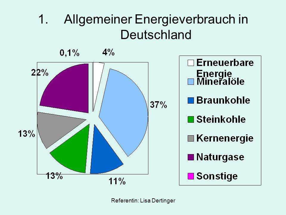 Referentin: Lisa Dertinger 1.Allgemeiner Energieverbrauch in Deutschland