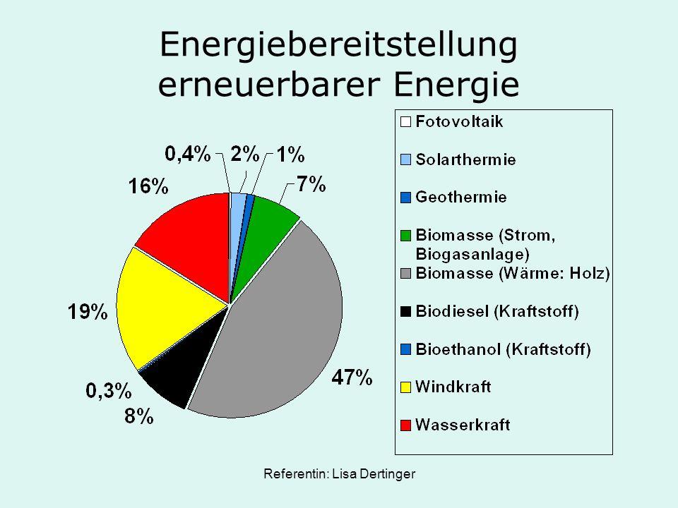Referentin: Lisa Dertinger Energiebereitstellung erneuerbarer Energie