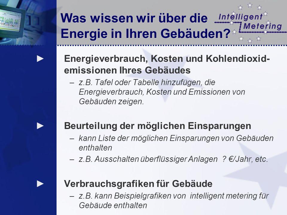 Was wissen wir über die Energie in Ihren Gebäuden? Energieverbrauch, Kosten und Kohlendioxid- emissionen Ihres Gebäudes –z.B. Tafel oder Tabelle hinzu