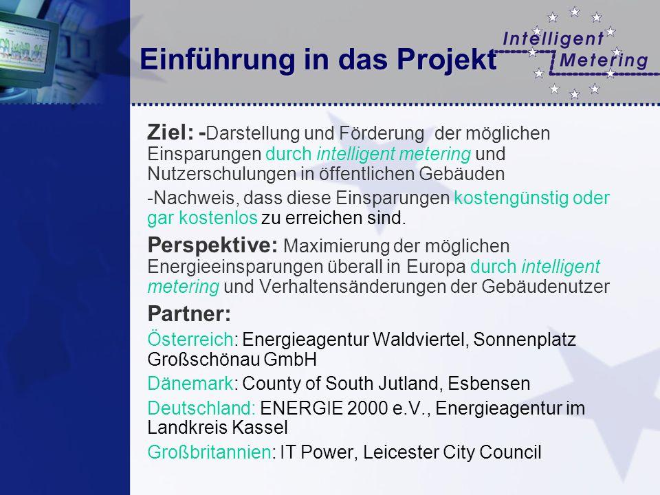 Einführung in das Projekt Ziel: - Darstellung und Förderung der möglichen Einsparungen durch intelligent metering und Nutzerschulungen in öffentlichen