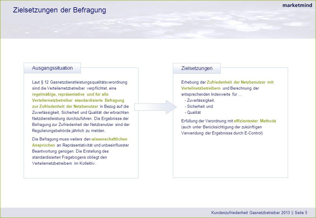 Datenbasis und Erhebungsmethodik Kundenzufriedenheit Gasnetzbetreiber 2013 || Seite 6 Kunden-Datenbank alle Netzbenutzer (Haushalt und Gewerbe bis max.