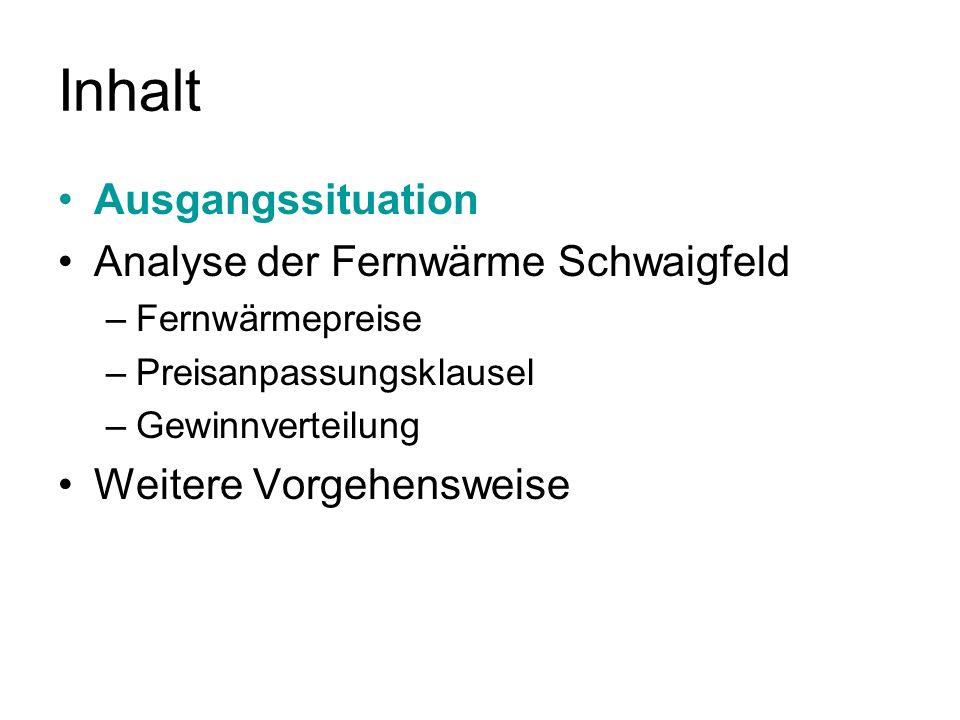 Inhalt Ausgangssituation Analyse der Fernwärme Schwaigfeld –Fernwärmepreise –Preisanpassungsklausel –Gewinnverteilung Weitere Vorgehensweise