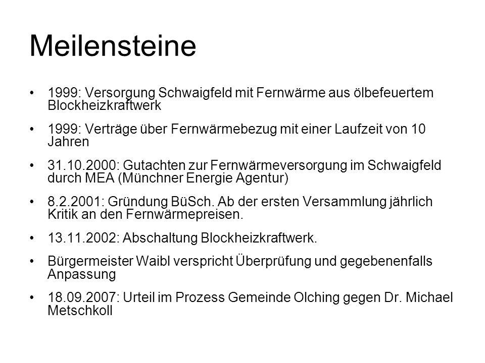 Meilensteine 1999: Versorgung Schwaigfeld mit Fernwärme aus ölbefeuertem Blockheizkraftwerk 1999: Verträge über Fernwärmebezug mit einer Laufzeit von