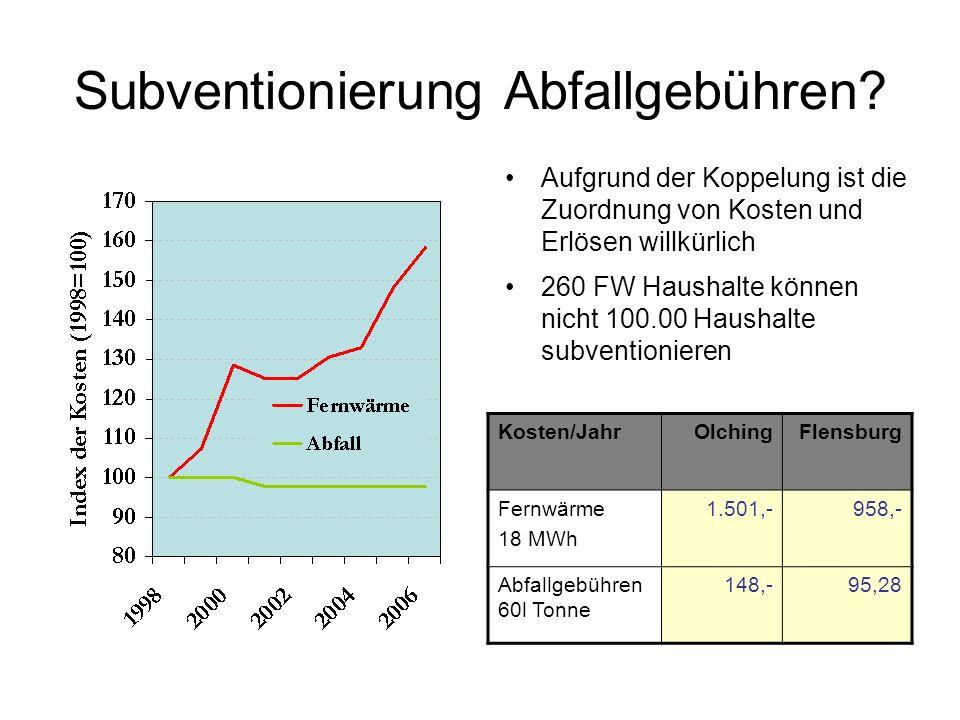 Subventionierung Abfallgebühren? Aufgrund der Koppelung ist die Zuordnung von Kosten und Erlösen willkürlich 260 FW Haushalte können nicht 100.00 Haus