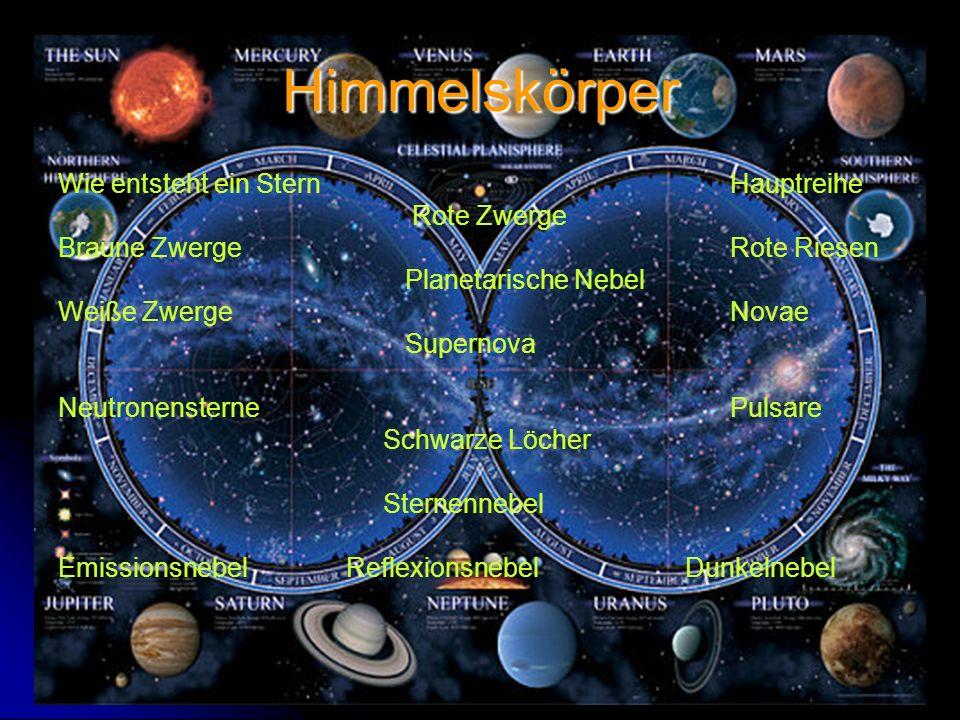 Himmelskörper Wie entsteht ein SternHauptreihe Rote Zwerge Braune ZwergeRote Riesen Planetarische Nebel Weiße ZwergeNovae Supernova NeutronensternePulsare Schwarze Löcher Sternennebel Emissionsnebel Reflexionsnebel Dunkelnebel