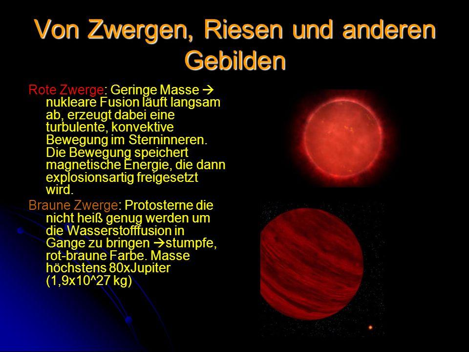 Von Zwergen, Riesen und anderen Gebilden Rote Zwerge: Geringe Masse nukleare Fusion läuft langsam ab, erzeugt dabei eine turbulente, konvektive Bewegu