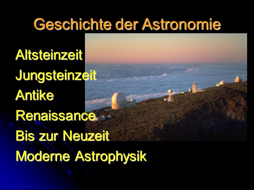 Geschichte der Astronomie AltsteinzeitJungsteinzeitAntikeRenaissance Bis zur Neuzeit Moderne Astrophysik