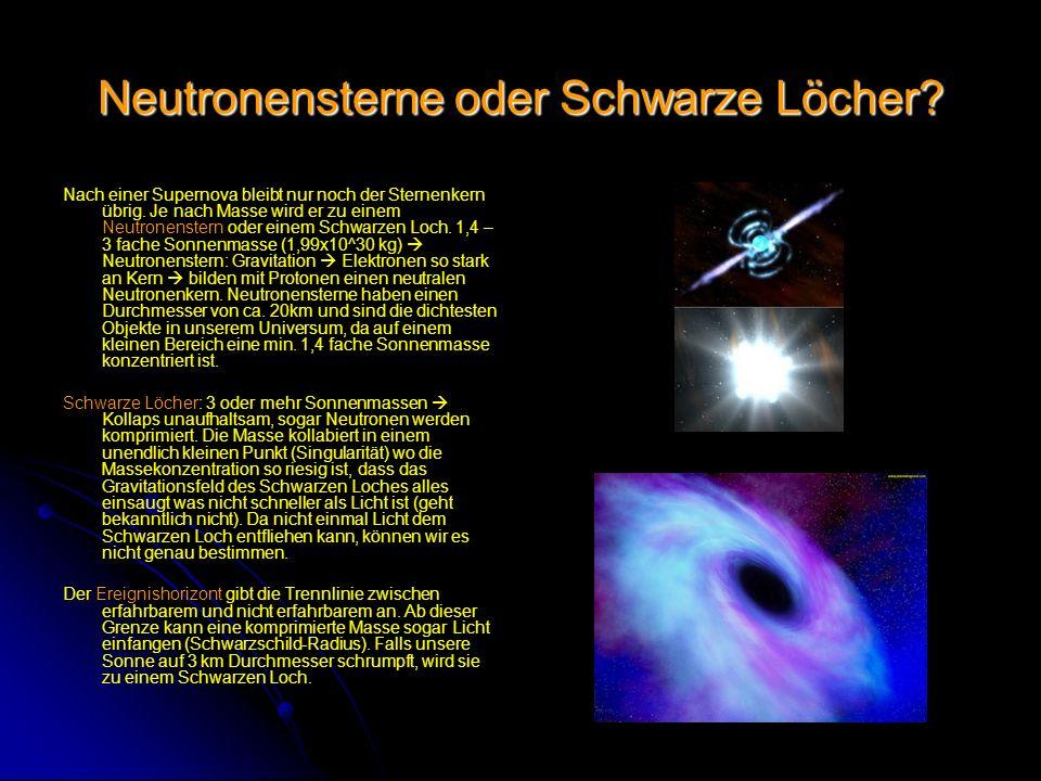 Neutronensterne oder Schwarze Löcher.Nach einer Supernova bleibt nur noch der Sternenkern übrig.