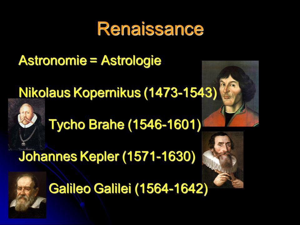 Renaissance Astronomie = Astrologie Nikolaus Kopernikus (1473-1543) Tycho Brahe (1546-1601) Johannes Kepler (1571-1630) Galileo Galilei (1564-1642)