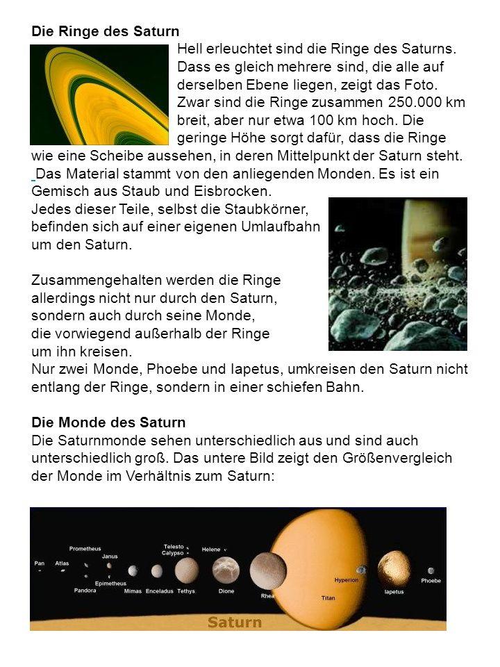 Die Ringe des Saturn Hell erleuchtet sind die Ringe des Saturns. Dass es gleich mehrere sind, die alle auf derselben Ebene liegen, zeigt das Foto. Zwa